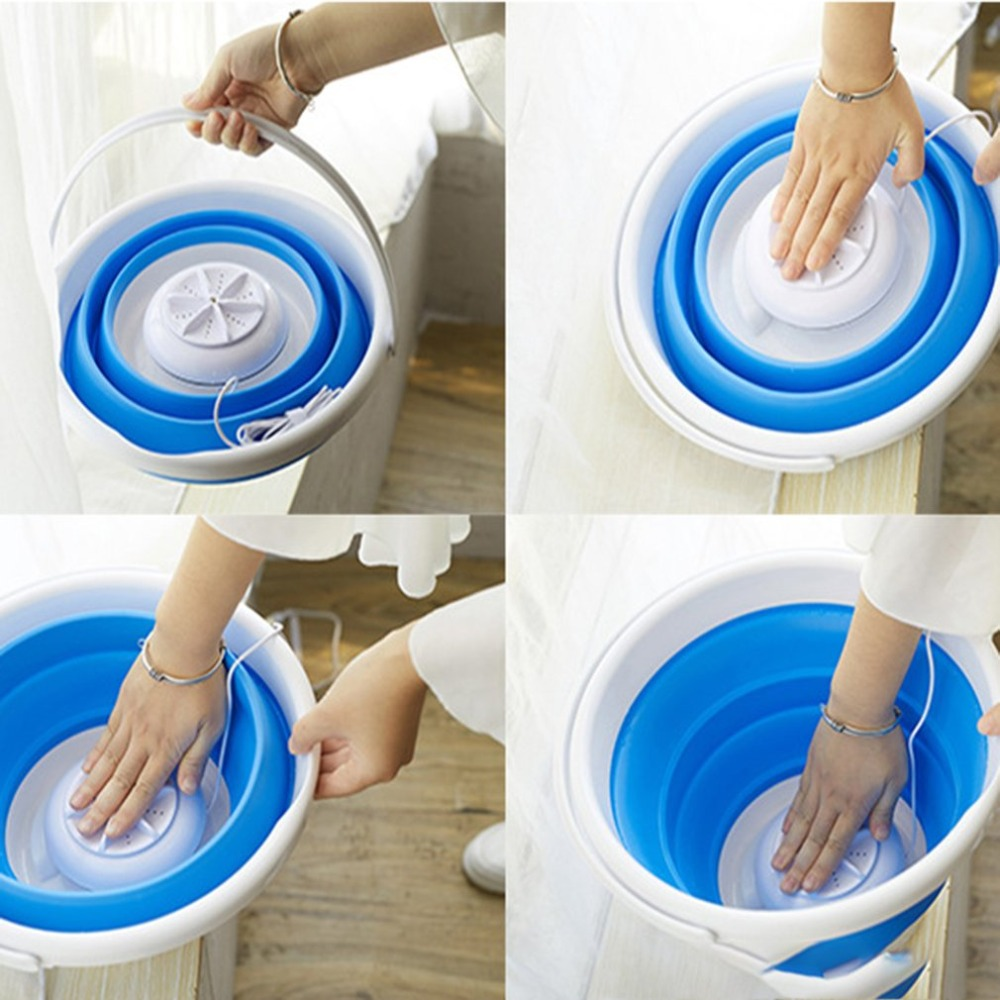Ultrasonic Turbo Automatic Electric Roller Mini Washing Machine Portable Quick Clean Washing Tool For Outdoor Travel Dormitories