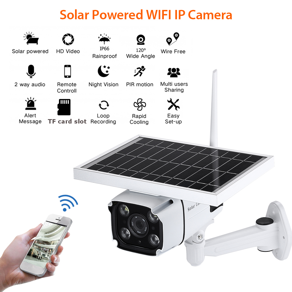 2MP Outdoor Solar Security IP Camera Wireless WIFI Surveillance Cam Night Vision