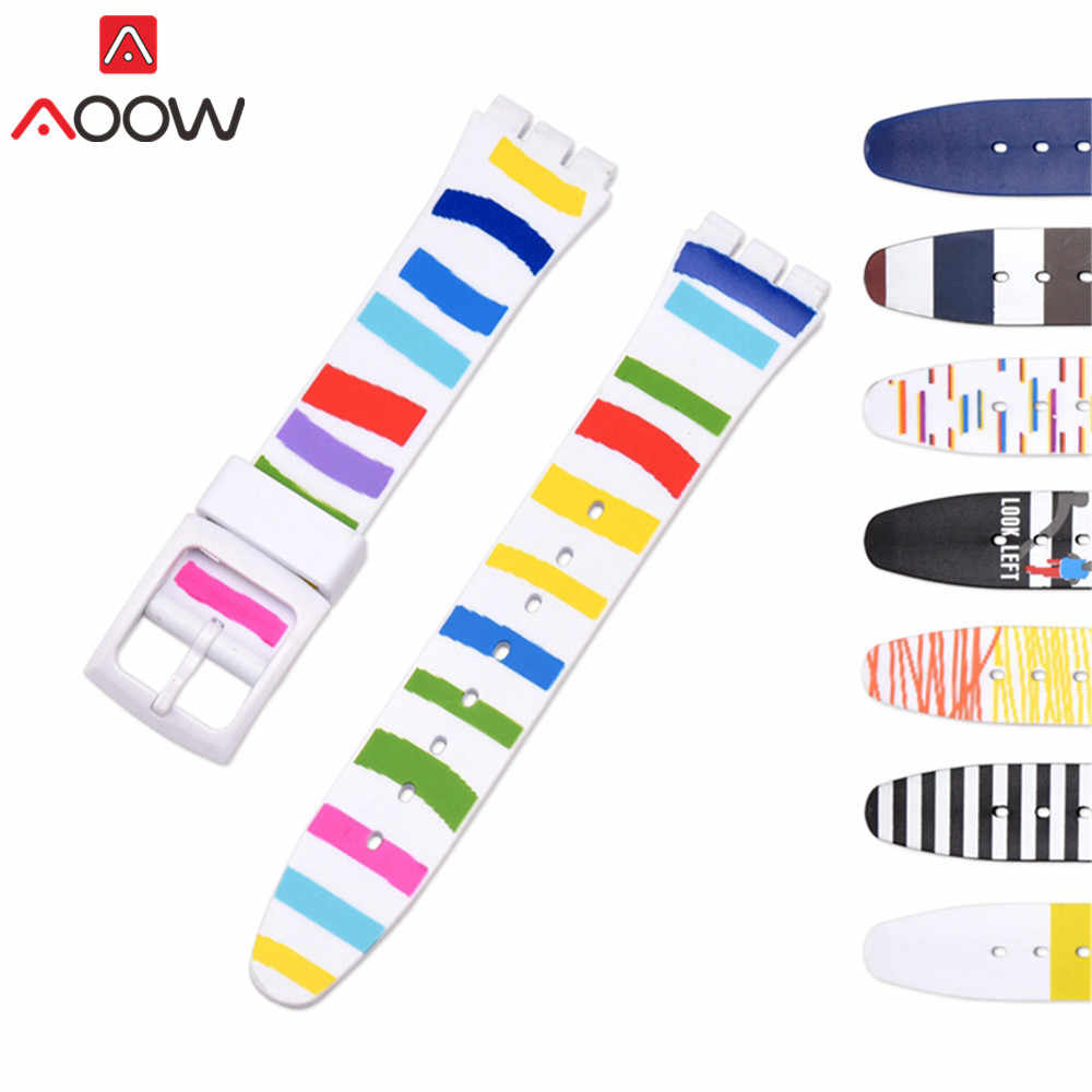 16mm 17mm 19mm Colorful Silicone Watchband for Swatch Watch Rainbow Men Women Rubber Replace Bracelet Strap Band Accessories