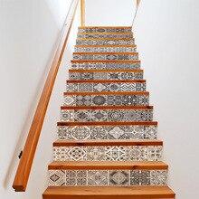 13 Uds 3D azulejos geométricos de cerámica pegatinas 3D Stairway patrón de azulejo de cerámica para la decoración de la habitación escaleras decoración de suelo del hogar palo de pared