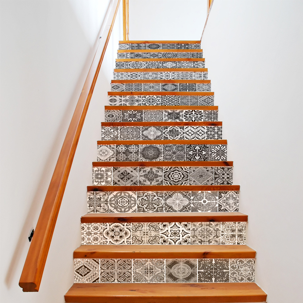 13pcs 3D Ceramic Geometric Tile 3D Stairway Stickers Ceramic Tile Pattern for Room Stairs Decoration Home Decor Floor Wall Stick-in Wall Stickers from Home & Garden