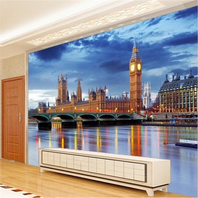 0b168fd11 Beibehang مخصص 3d خلفيات الأوروبية العمارة لندن بيغ بن التلفزيون خلفية  المعيشة غرفة نوم ورق الحائط