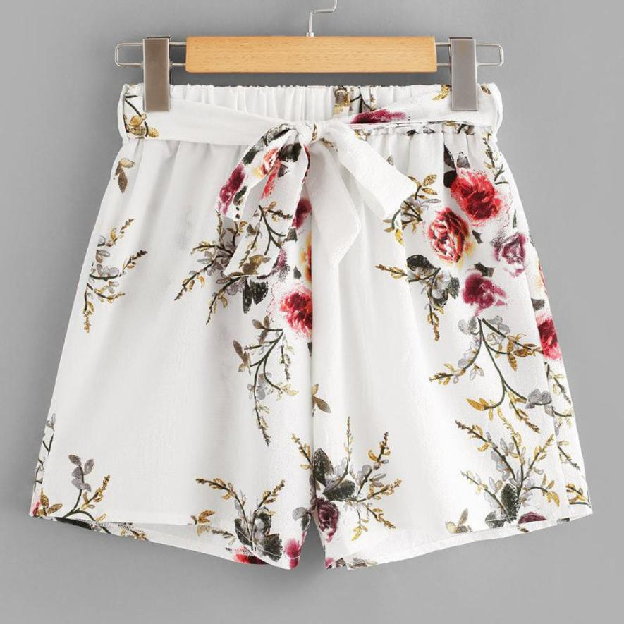 Woman   jeans   2018 Women Print Casual Belt Loose Hot Pants Lady Summer Beach Shorts Trousers 7.17