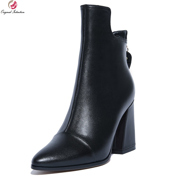 Original Intention High-quality Women Ankle Boots Pointed Toe Square Heels Boots Stylish Black Grey Shoes Woman US Size 4-10.5 original intention high quality women ankle boots pointed toe square heels boots fashion black brown shoes woman us size 4 10 5