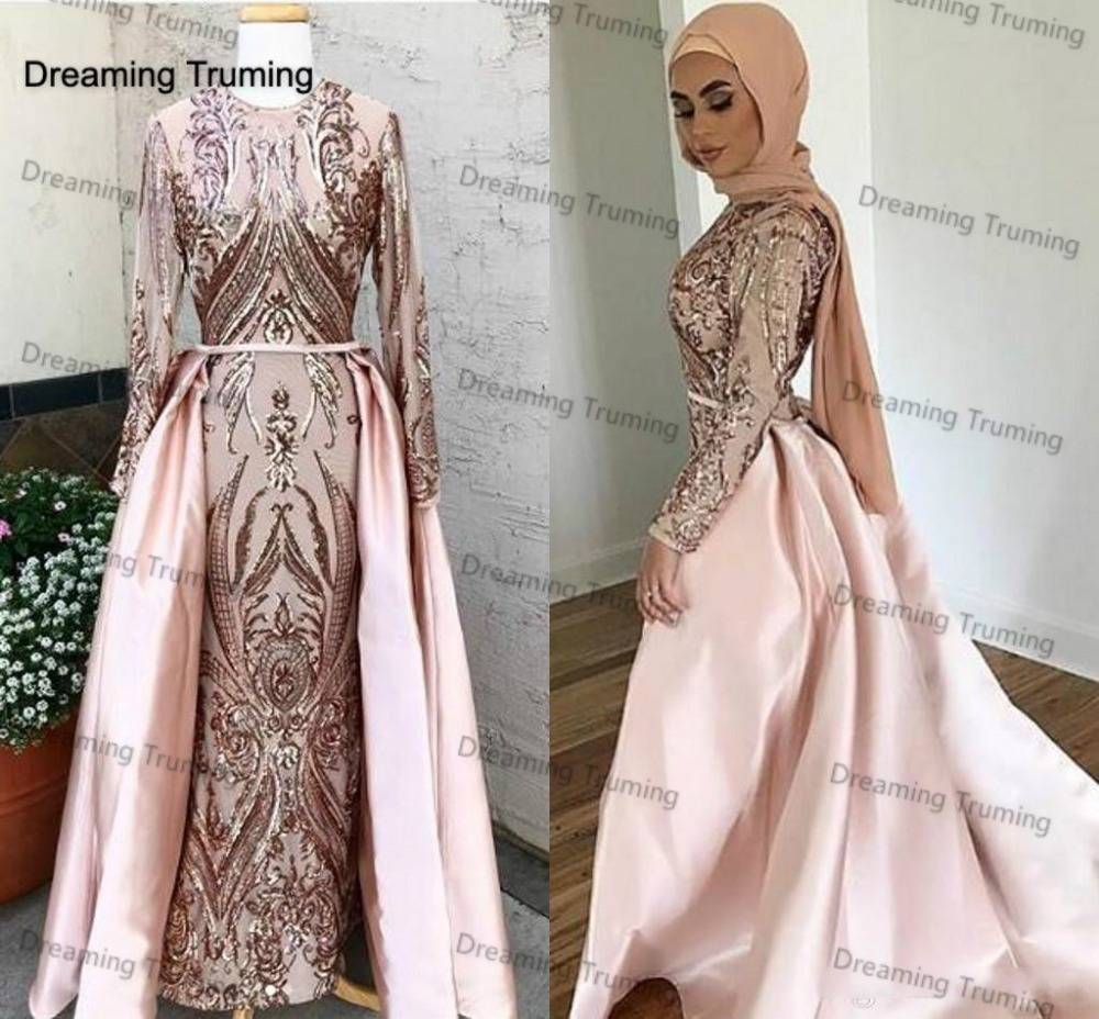 Evening Dresses Learned Pink Arabic Evening Dresses Lace Mermaid Lace Off The Shoulder Detachable Train Illusion Kaftan Dubai Formal Evening Gowns Making Things Convenient For Customers