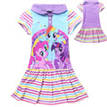 2015 Kids summer long section Little Pony dresses children short sleeved dresses girls striped cotton baby princess dresses