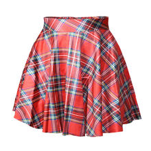 2015 Women Fashion Red Digital Print Tartan Pleated Skirt Women Saia Skirts 20 Colors Available