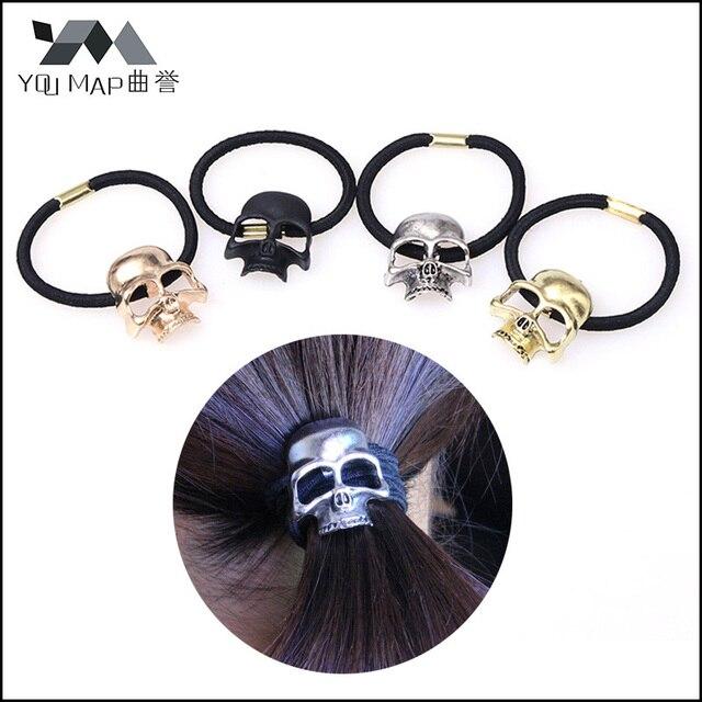 a0b1628e7325 1 Pc Women Punk Gothic Raven Skull Elastic Hair Rope Halloween Jewelry Hair  Accessories