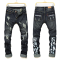 Rasgado Calça Jeans Motociclista Dos Homens de alta Qualidade 100% Algodão azul Afligido Denim Jeans Calças Slim Fit calças de Brim Da Motocicleta Homens Do Vintage