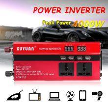 4000 Вт Солнечный автомобильный силовой инвертор светодиодный DC12/24 В к AC110/220 В синусоидальный преобразователь 4 USB интерфейсы