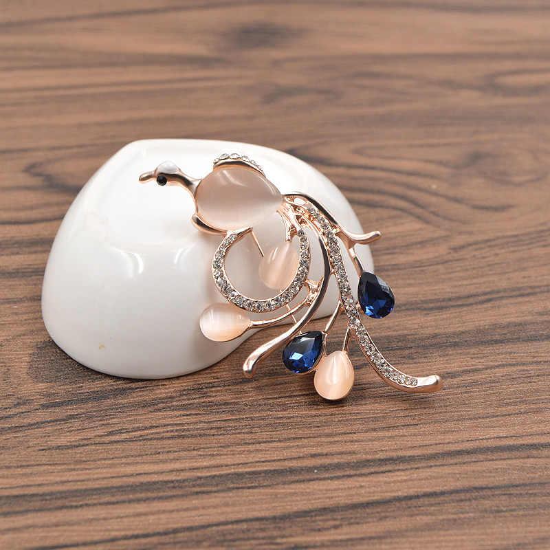 CINDY XIANG Opale e CZ Strass Phoenix Spille per Le Donne Navy di Colore Blu Uccello Spilli e Spille Moda Spille Da Sposa