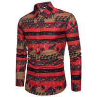 Spring Fashion Boy's Shirts Streetwear Long Sleeved Middle East Country Ethnic Totem Printed Summer Shirt Men's Clothing A430