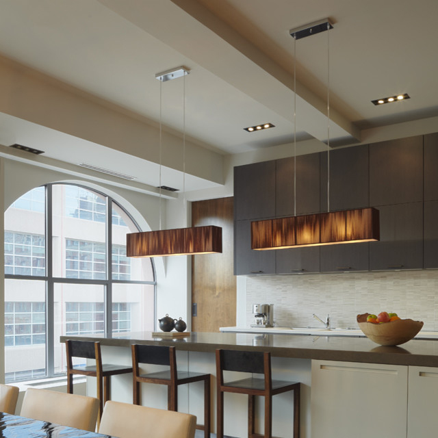 Lampes suspendues modernes Restaurant lampe LED salle à manger en soie, simple, lampe rectangulaire suspension ZS165