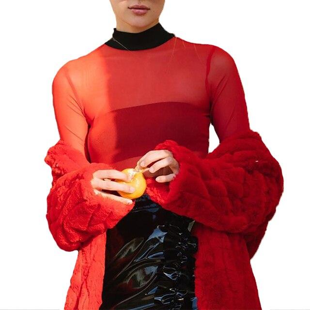 Red Mesh Top Women 2018 Long Sleeve Turtleneck T-shirt Tee Shirt Femme Sexy  Patchwork T-shirt Mujer Das Mulheres de25a9fd97