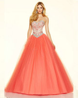 Style 98117 Floor Length Graduation Dresses 2016 Coral Tulle Corset Ball Gowns Sparkle Prom Dresses Long