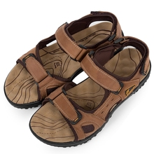 men sandals slippers genuine leather male summer shoes outdoor casual Hollow leather sandals