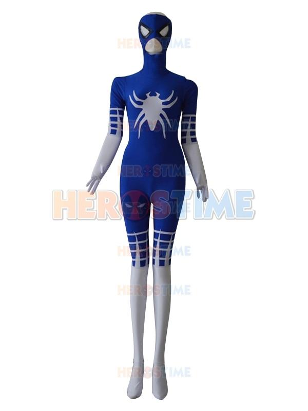 Modrá a bílá speciální styl Spider-man Superhero kostým Spandex Halloween Cosplay Spiderman kostým Fullbody Zentai Suit