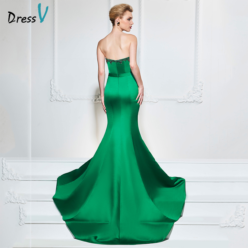 Dressv turquoise trumpet long   evening     dress   elegant sweetheart neck court train wedding party formal   dress   stain   evening     dresses