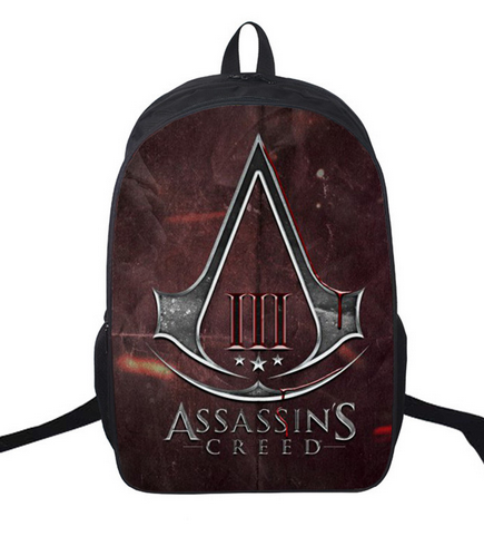 16 Inch Assassin's Creed Backpack For Teenagers Children School Bags Boys Assassins Creed Backpacks Men Women Daily Bag new fashion assassins creed luminous backpack boy girl school bags for teenagers casual bag game canvas backpacks