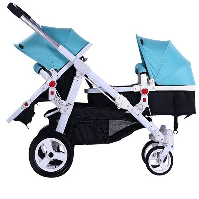Motherknows tweeling kinderwagen trolley voor en achter licht kinderwagen tweeling auto Luxe twin kinderwagens Scheidbare twin auto