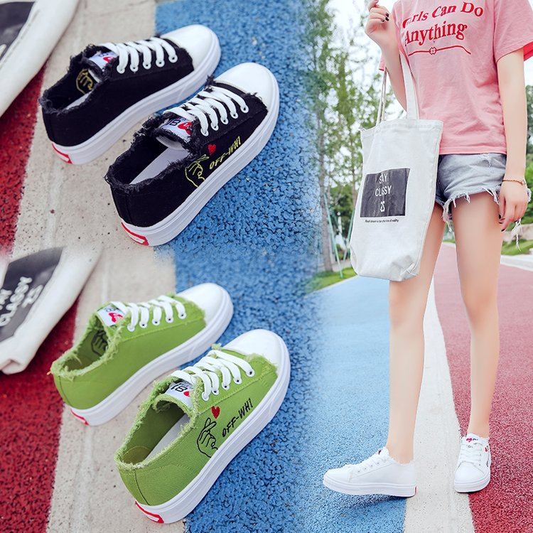 Version Nouveau Toile Chaussures Sauvage Blanches Noir Étudiant Coréenne De 2018 Femmes Plates vert Harajuku blanc ITxqtwg