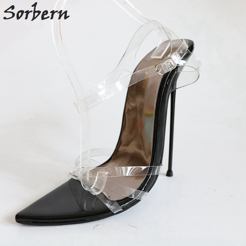 Sorbern Sexy See Through Pvc Women Sandals Metal High Heel 14Cm Slingback Sandals Stilettos Heeled Party Shoes Women Summer 2018 stylesowner 2018 summer beach women sandals lace high heel shoes see through gladiator women sandals sexy casual sandals shoes