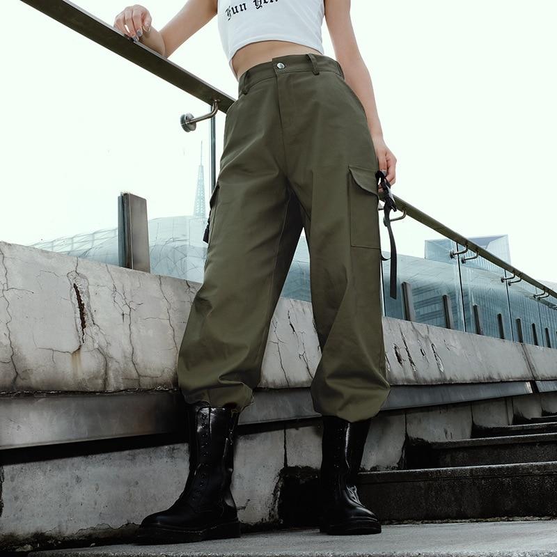 2019 Streetwear Cargo Pants Women Casual Joggers Black High Waist Loose Bandage Female Trousers Korean Style Ladies Pants Capris