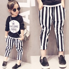 Girls pants 2019 spring and autumn new striped harem pants casual children feet pants cotton trousers 2-4-6-8 years tenyue spring and autumn babies 3 autumn children s trousers 4 children s casual pants children s autumn trousers