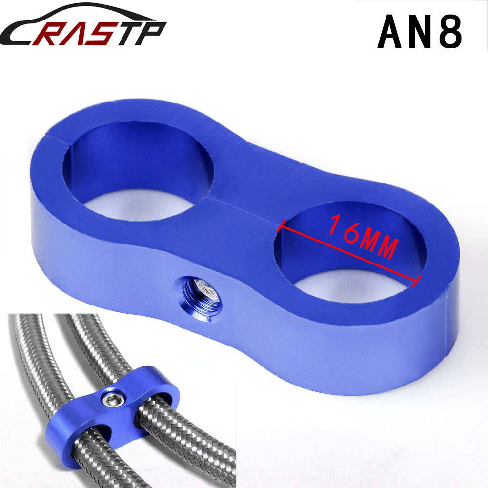 RASTP-1Pc Aluminum Stepped Billet Dual AN8 8AN 16mm Braided Hose Separator Clamp Cable Fastener 6 Colors RS-HR013-AN8