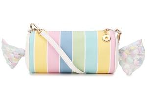 Image 5 - Sweet Candy Design Embroidered Letters Color Stripe Pu Ladies Clutch Bag Shoulder Bag Casual Totes Crossbody Mini Messenger Bag