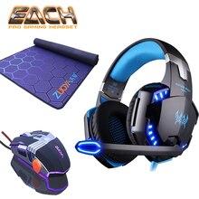 KOTION каждый наушники легкая игровая гарнитура и коврик для мыши с микрофоном наушники для компьютера стерео лучший шлем глубокий геймер гарнитуры
