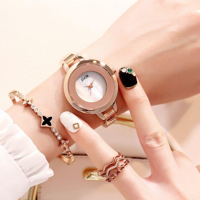 zivok Luxury Gold Lovers Wrist Watch for Women Fashion Brand Quartz Ladies Brace