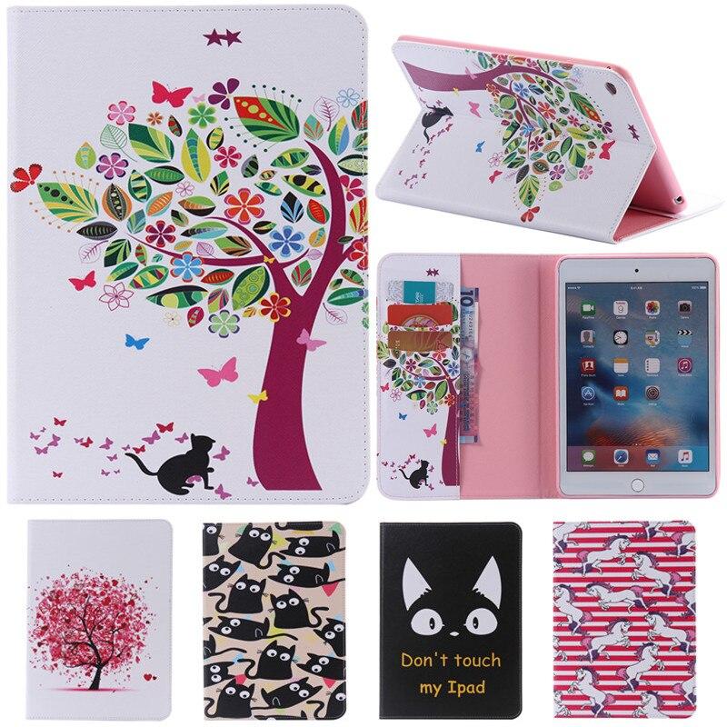 Pour IPad Mini4 mignon dessin animé arbre à chat fleur carte Slot Stand Flip PU Coque en cuir étui pour Apple IPad Mini 4 tablette housse