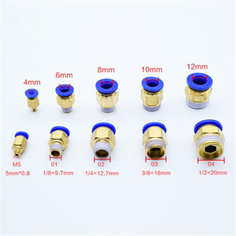 """PC Air pneumatique 10 12mm 6 8mm 4mm tuyau Tube 1/4 """"BSP 1/2"""" 1/8 """"3/8"""" mâle filetage Air tuyau connecteur raccord rapide raccord en laiton"""