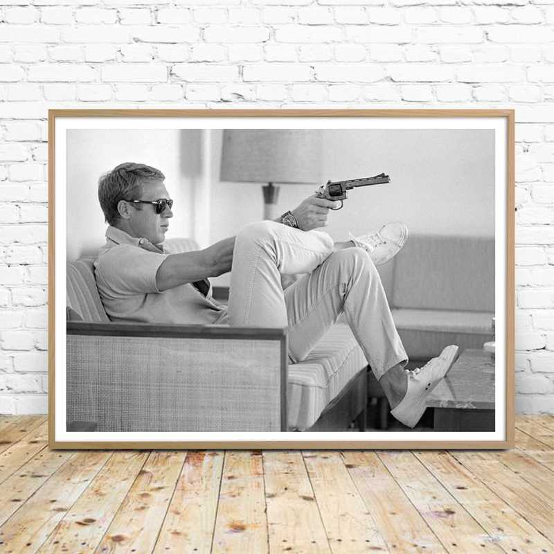 Steve McQueen Poster Canvas Print Vintage Movie Posters Painting Mens Gun Black White Photography Picture Home Wall Art Decor