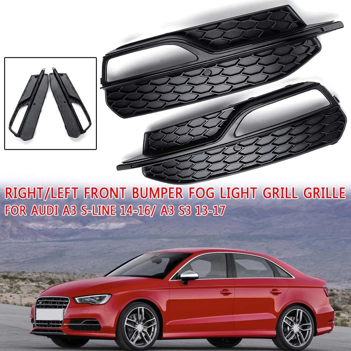 Black Right/Left Front Bumper Fog Light Mesh Grill Grille For Audi A3 S-Line 2014 2015 2016 A3 S3 2013 2014 2015 2016 2017 New