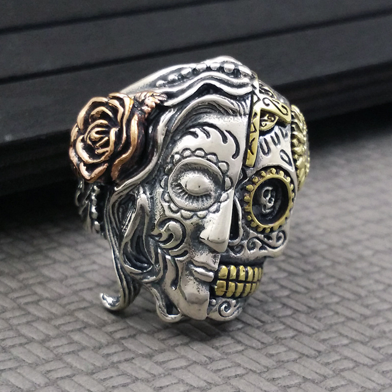 Real solid 925 pure silver ring restoring ancient ways Goddess of skull and the ring europe type restoring ancient ways the flag of non woven fabrics do old sitting room the bedroom tv setting wall paper sweet