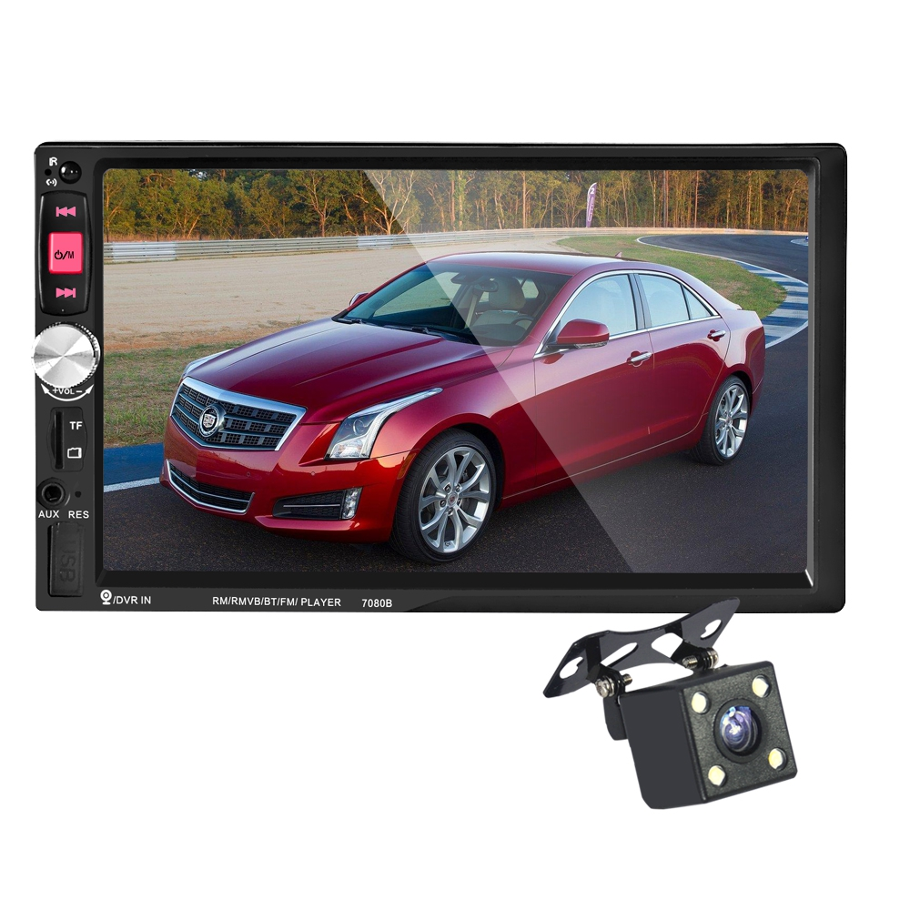 7080B 2 Din In Dash Auto Car MP5 Video Player With Rear View Camera Remote Control 7 Inch Touch Screen Support USB / TF / AUX new 7 inch 2din bluetooth car radio video mp5 player auto radio fm 18 channel hd 1080p in dash remote control rear view camera