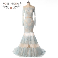 Boat Neck Long Sleeves Two Pieces Lace Evening Dress Light Blue Over Nude Mermaid See Through