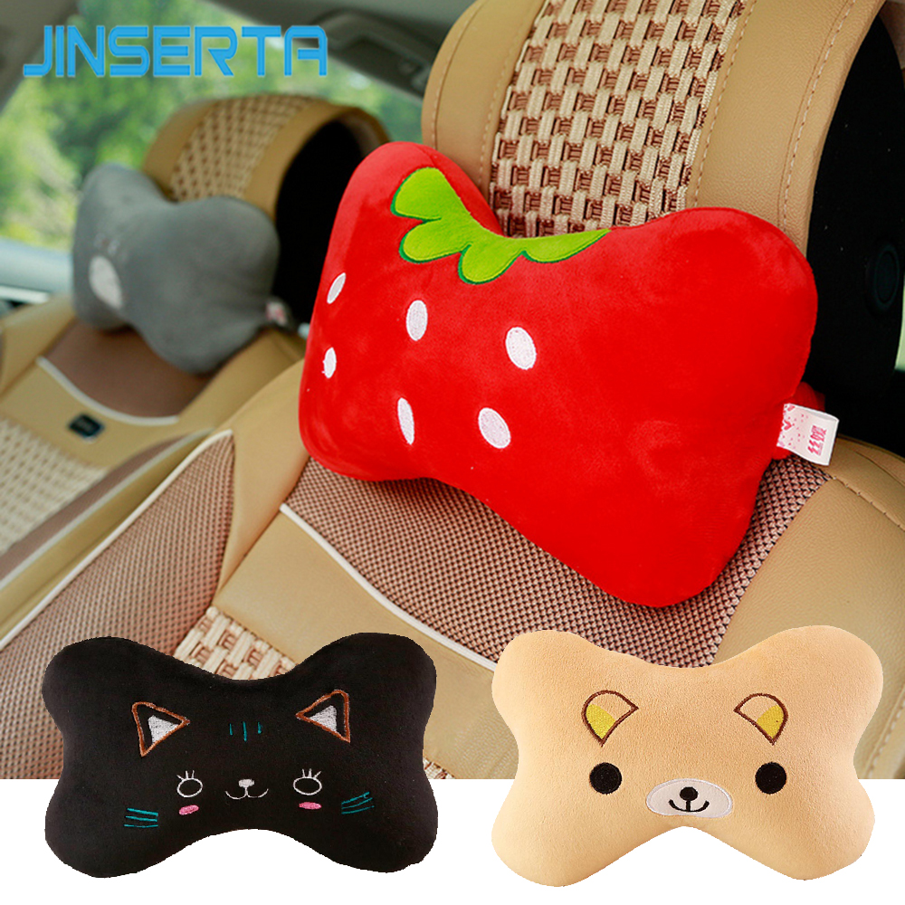 JINSERTA Car Neck Pillow Cartoon Cute Animal Travel Pillow Car Seat Cushion Cover Neck Support Headrest Interior Accessories