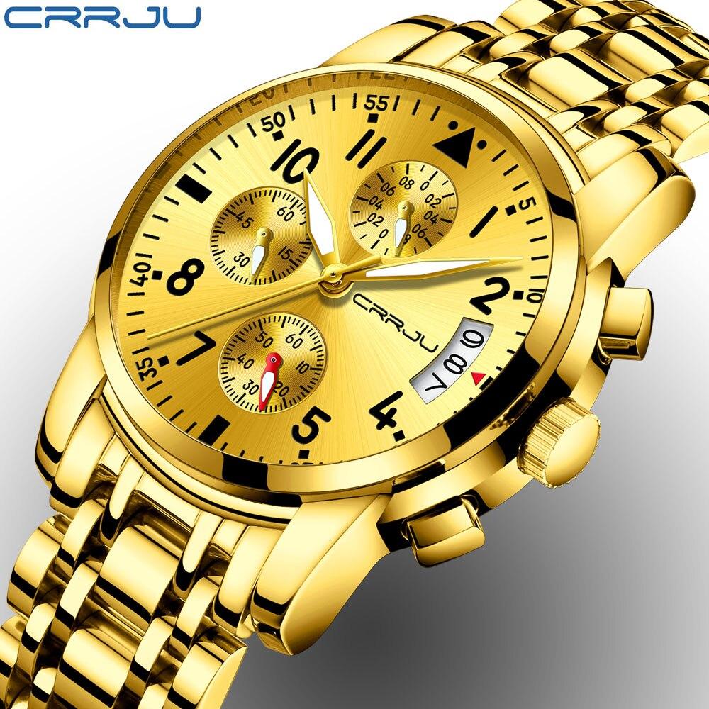 CRRJU ouro Homens Relógios Desportivos Data Cronógrafo À Prova D' Água 30 m Mens Quartz Completa Steel Business Relógio de Pulso Relogio masculino