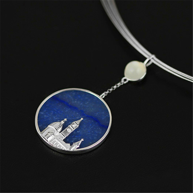 Genuine 925 Sterling Silver Pendant Handmade Women Jewelry Exclusive Gorgeous Vintage Florence Cathedral Design Natural Stones
