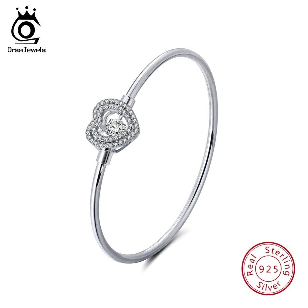 ORSA JOYAUX Véritable 925 En Argent Sterling Bracelets Pour Les Femmes Romantique Coeur Forme AAA Cubique Zircon De Mode Bracelet Bijoux SB08