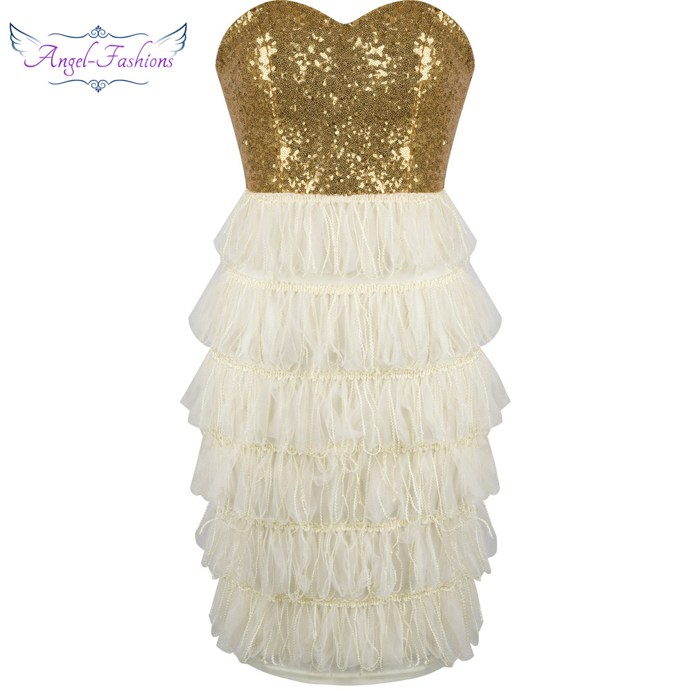 angel fashions strapless sequined tiered tassel lace up. Black Bedroom Furniture Sets. Home Design Ideas