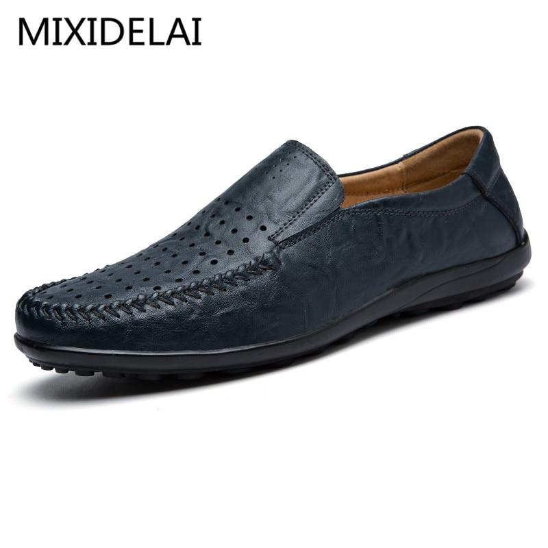 2017 Summer Men Casual Shoes High Qualtiy Split Leather Shoes Fashion Men Driving Flats Breathable Slip On Lazy Shoes Size 38-45 стоимость