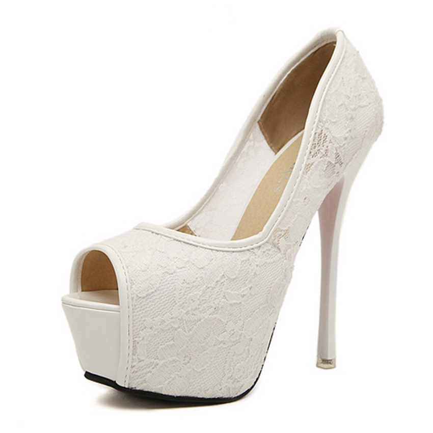 ФОТО Women Fashion Platform Wedding Bridal Lace Shoes High Heels Open Toe Stiletto Pumps Party Shoes Woman Mro315-9