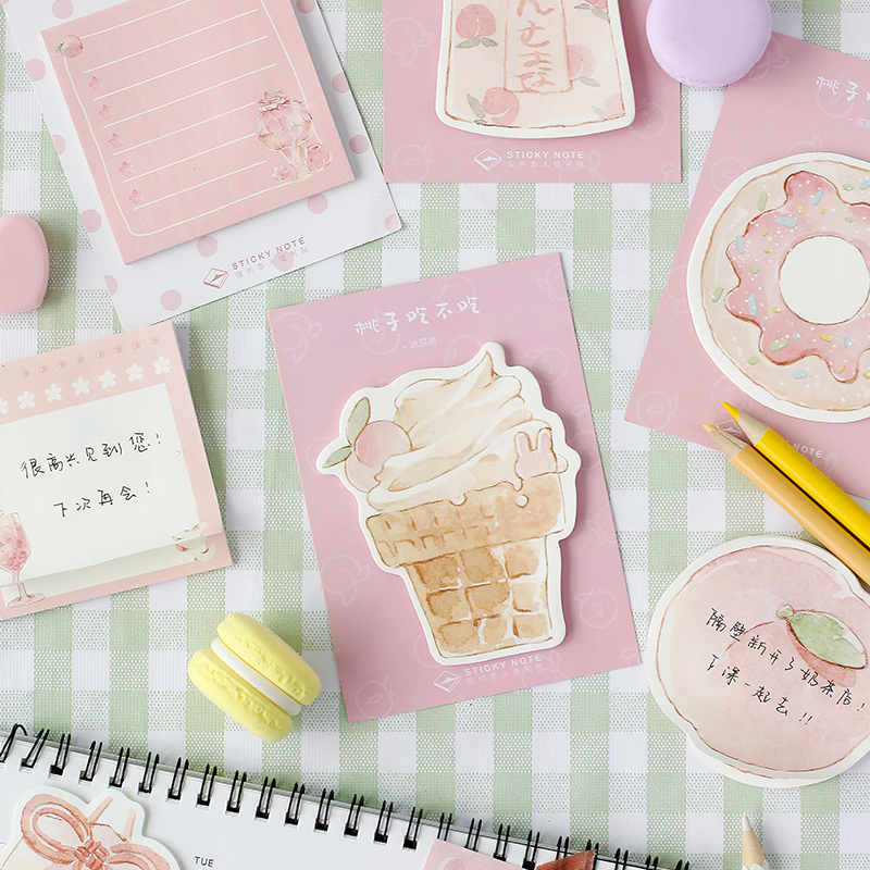 Delicious Donut Food Memo Pad Planner Sticky Note Paper Sticker Kawaii Stationery Pepalaria Office School Supplies 30 Pages