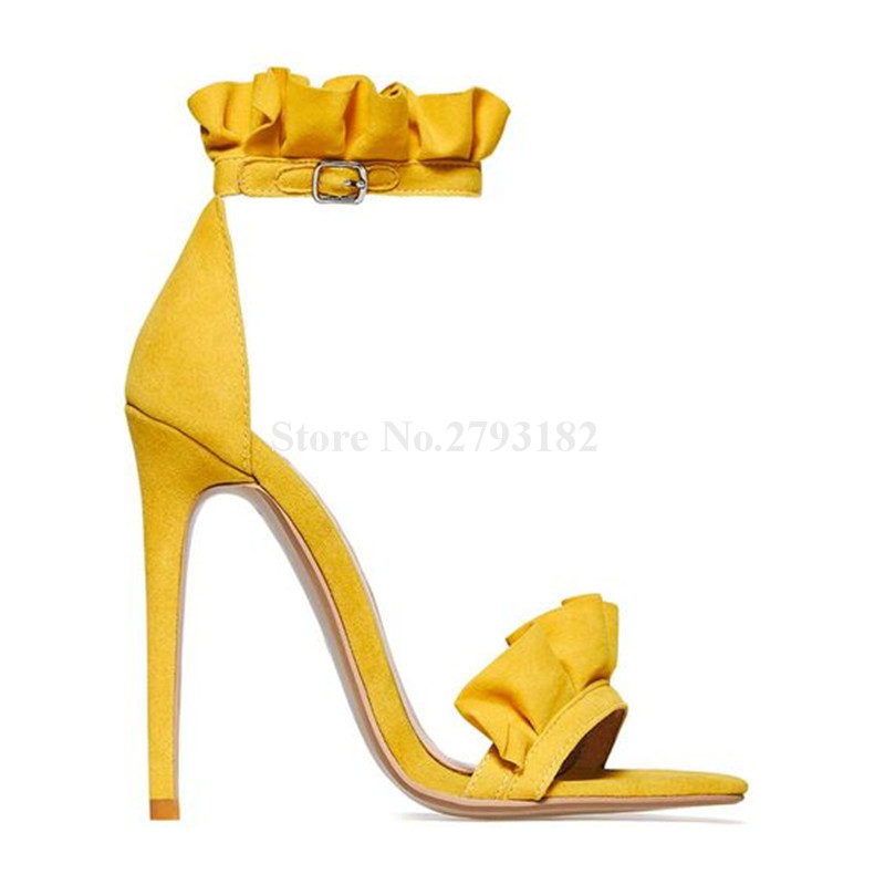 Ladies Sweet Open Toe Ruffle Suede Leather Thin Heel Sandals Pink Yellow Purple Fringed High Heel Sandals Dress Shoes цены онлайн