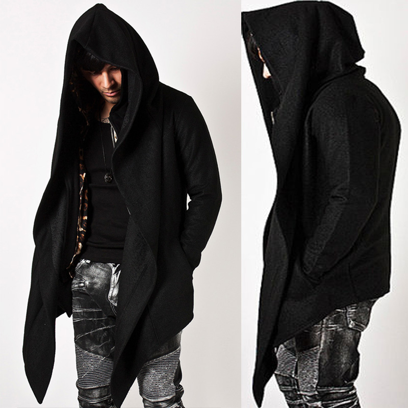 Trendy Mens Fashion Tops Shirts Outwear Jacket Diabolic Hooded Cape Coat For MENS WARM WINTER CLOTHInG