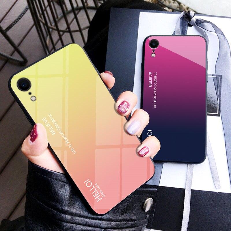 Iphone XR caso de cristal templado para iphone XR Color degradado contraportada suave TPU silicona parachoques para iphone XR caso